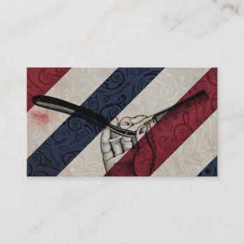 vintage barber pole / straight razor business card