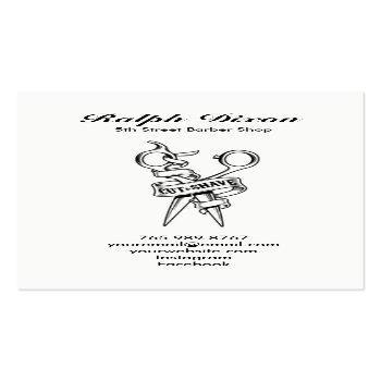 Small Vintage Barber Shop Skull Scissors Business Card Back View