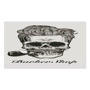 Small Vintage Barber Shop Skull Scissors Business Card Front View