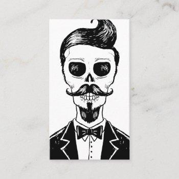 vintage barber shop skull social media vertical business card
