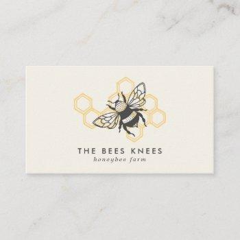vintage bee logo rustic honeybee beekeeper business card