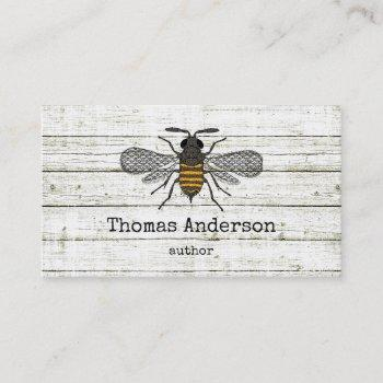 vintage bee stylish chic whitewood business card