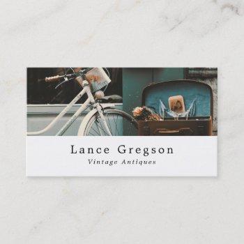 vintage bicycle, antiques dealer business card