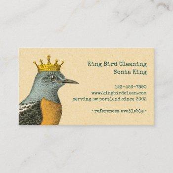 vintage bird with golden crown business card