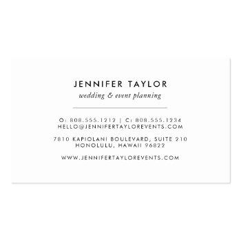 Small Vintage Black And White Floral Business Card Back View