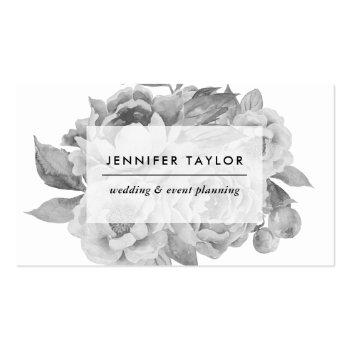 Small Vintage Black And White Floral Business Card Front View