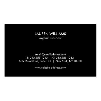 Small Vintage Black Floral Pattern Business Card Back View