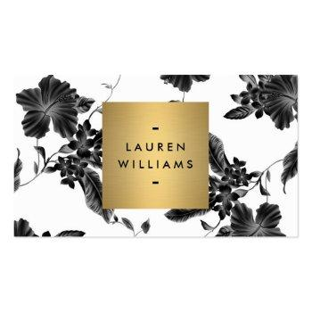 Small Vintage Black Floral Pattern Business Card Front View