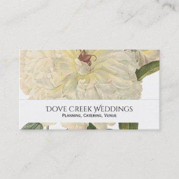 vintage botanical white peony floral business card