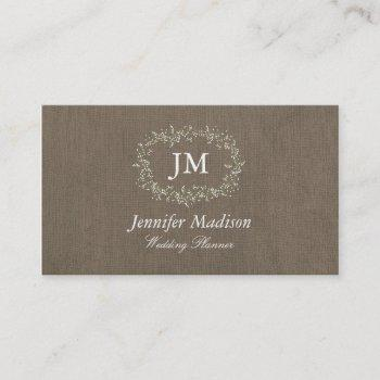 vintage burlap business cards - groupon