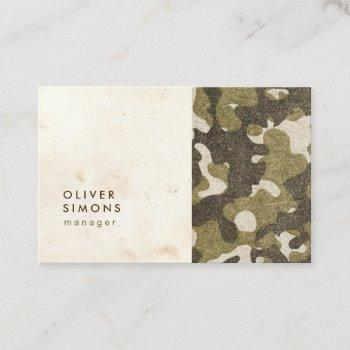 vintage business card with military pattern