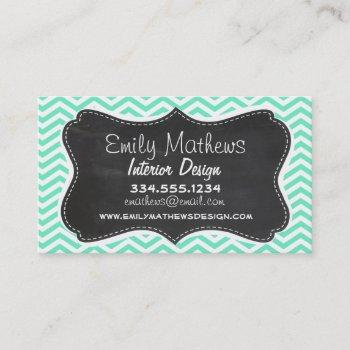 vintage chalkboard; aquamarine chevron; zig zag business card