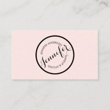 vintage circle stamp logo makeup artist pink business card