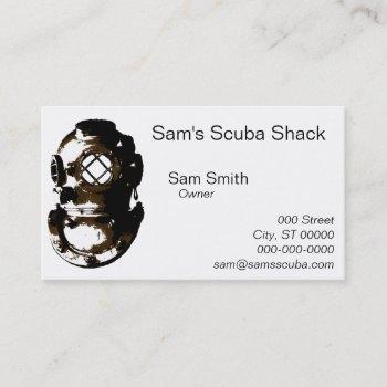vintage diving helmet scuba beach ocean unique fun business card