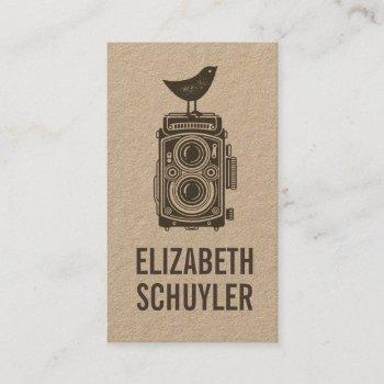 vintage elegant brown kraft rustic photography business card
