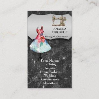 vintage  fashion crafts girly floral sewing business card