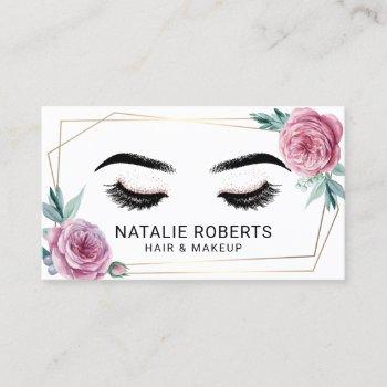 vintage floral geometric gold frame beauty salon business card