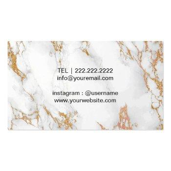 Small Vintage Floral Trendy Gold Marble Makeup Artist Business Card Back View