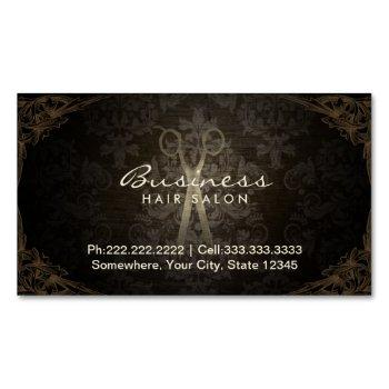vintage framed damask hair salon magnetic business card
