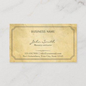 vintage framed old paper masonry business card