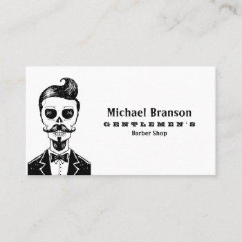 vintage gothic barber shop skull social media icon business card