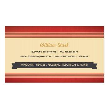 Small Vintage Handyman Business Cards Back View
