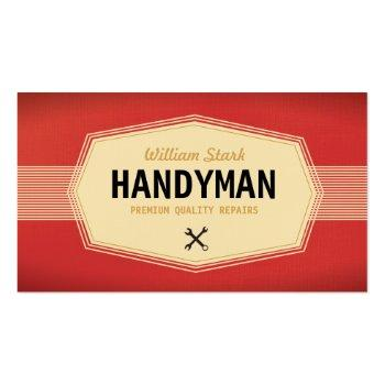 Small Vintage Handyman Business Cards Front View