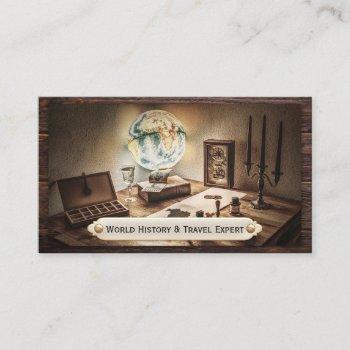 vintage history teacher travel business card