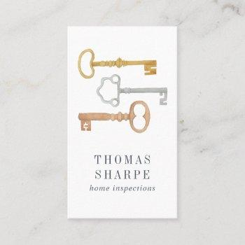 vintage key | home inspection vertical business card