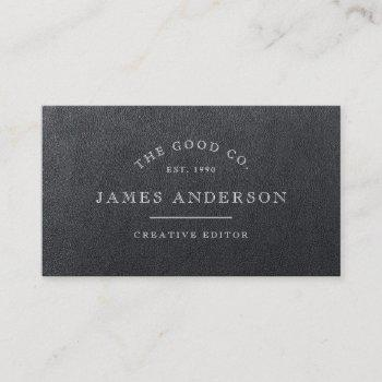 vintage leather business card