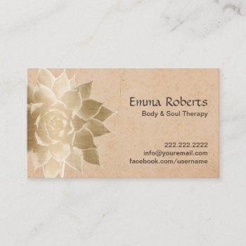 vintage massage therapy gold lotus business card