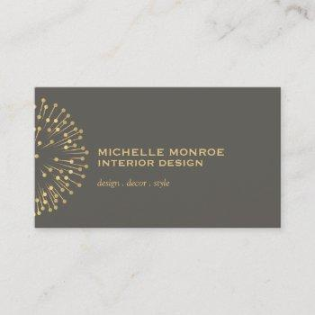 vintage modernist starburst interior designer gray business card