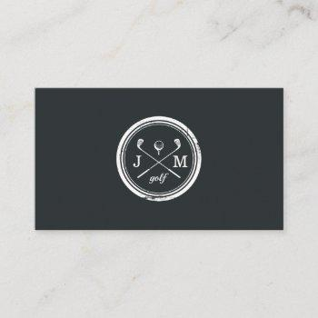 vintage monogram logo | golf pro or instructor business card