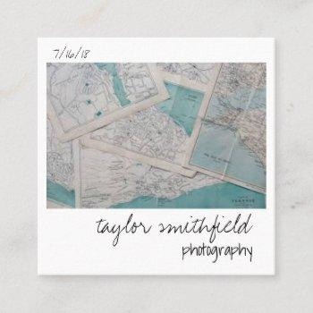 vintage photograph square business card