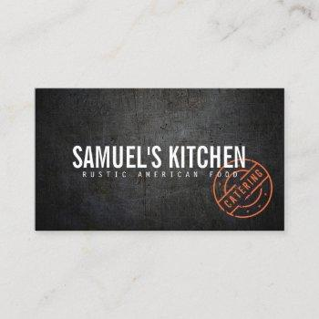 vintage rustic bold stamped logo catering business card