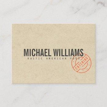 vintage rustic bold stamped logo kraft look business card