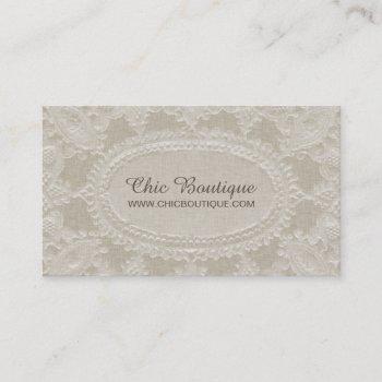 vintage rustic linen and lace elegant boutique business card