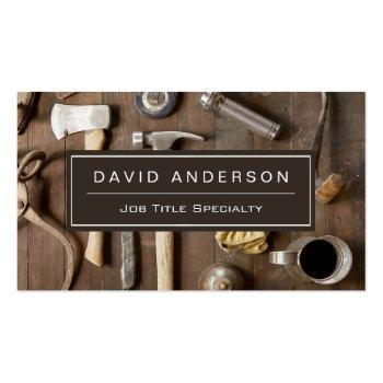 Small Vintage Rustic Tools Carpenter Handyman Woodworker Business Card Front View