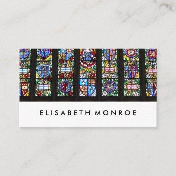 vintage stained glass, window sales business card