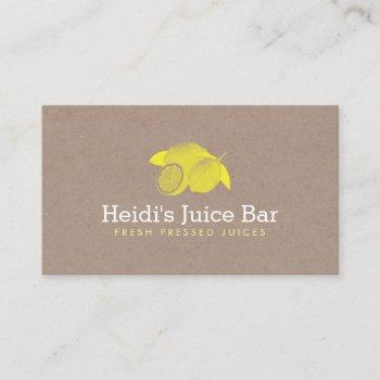 vintage style illustration of lemons on cardboard business card