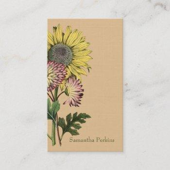 vintage sunflower business card
