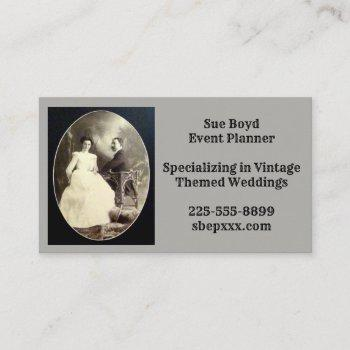 vintage victorian christian wedding event planner business card