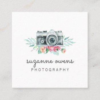 vintage watercolor camera square business card