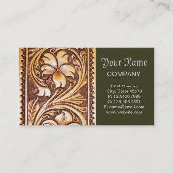 vintage western country cowboy tooled leather business card