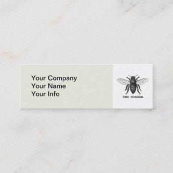 vintage worker bee illustration mini business card