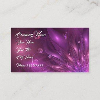 violet flower 3d in the wind - fractal impression. business card