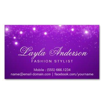 violet purple glam starry sparkles business card magnet