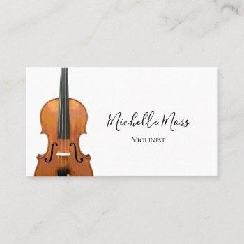 violin music teacher violinist  elegant business card