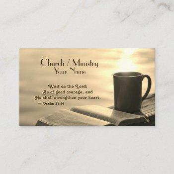 wait on the lord, inspirational bible verse business card