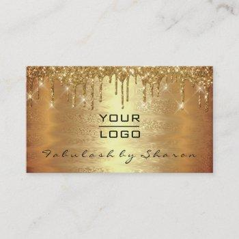 warm gold makeup artist lash drip spark logo business card